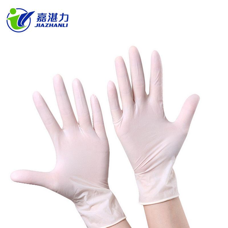 A级有粉光面乳胶手套 乳白色9寸一次性有粉医用检查橡胶乳胶手套批发