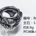 批发925银戒指托男 泰银复古戒指空托活口 大象蜜蜡空戒托12*16