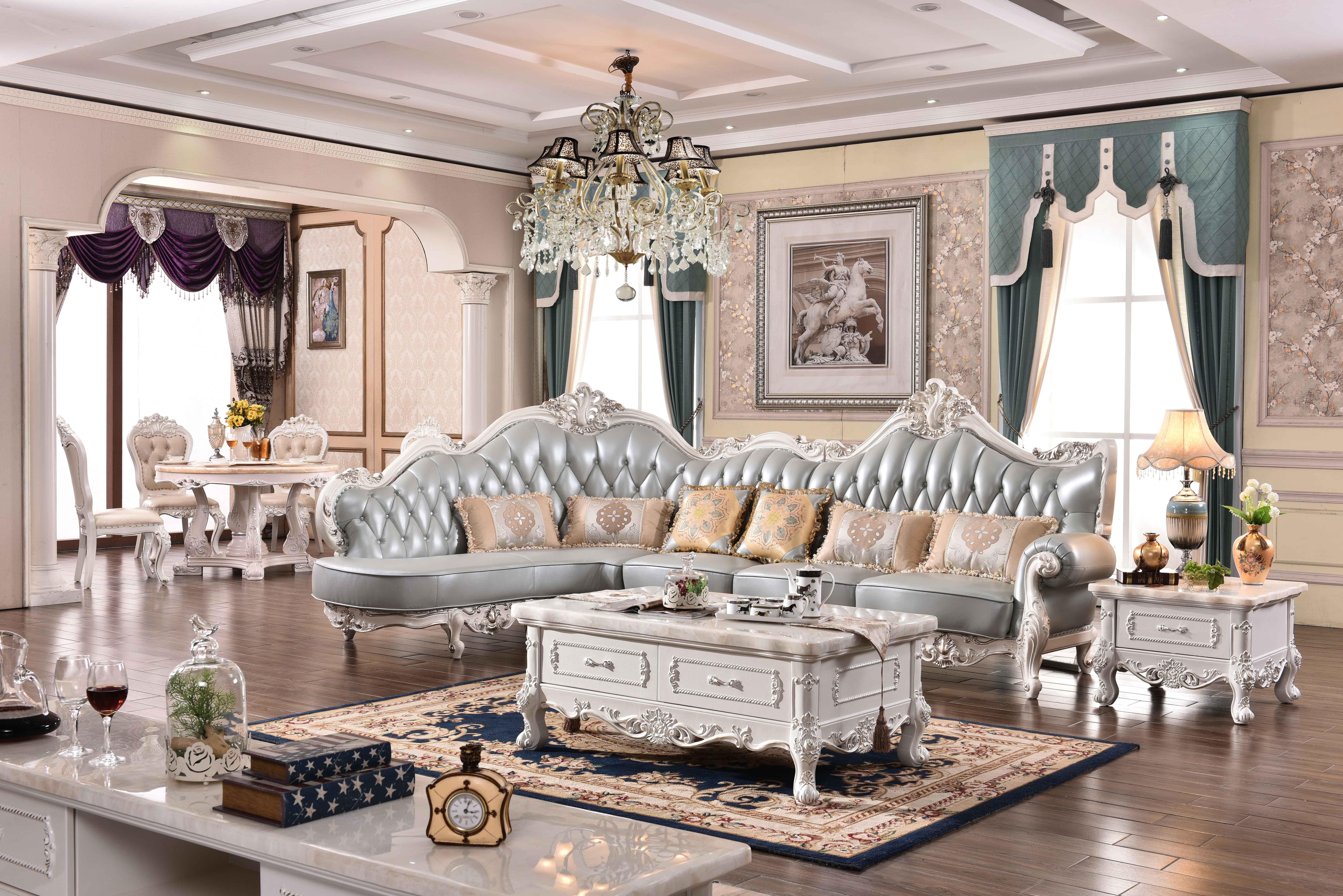 柒家壹 美式沙发欧式客厅奢华组合沙发法式实木头层牛皮家具 欧式家具