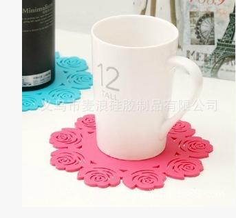 淘宝热卖加厚硅胶隔热垫可爱镂空玫瑰碗垫 盘垫杯垫厂家直销