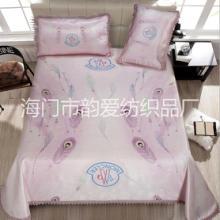 三件套单双人夏季印花粉色冰丝席透气学生可折叠凉席