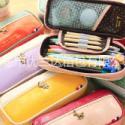厂家直销夏季新款热销创意PU文具袋 莫里斯拼色mini 笔袋 文具袋笔袋