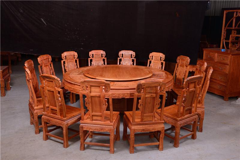 象头圆餐桌 东阳红木餐桌 花梨木餐桌品牌
