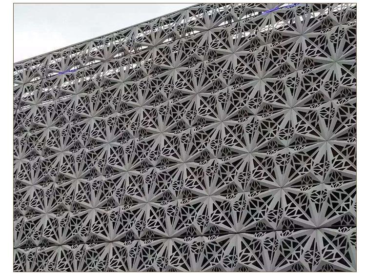 雕花铝单板加镂空成的不同花纹图案尽显经典优雅,自然清新的风格,增添