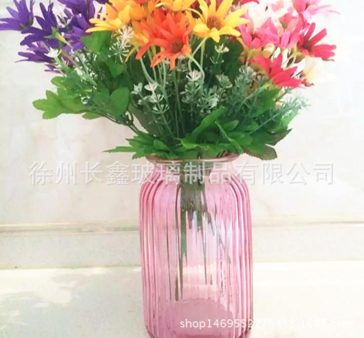 批发玻璃大号欧式透明蓝色竖纹玻璃彩色花瓶简约桌面摆件水培花瓶