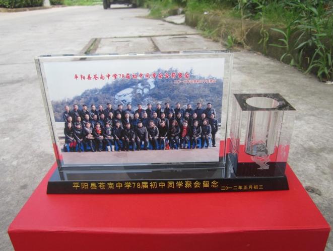 洛阳水晶纪念礼品聚会毕业退伍摆件合影照片办公桌摆件同学聚会纪念礼品