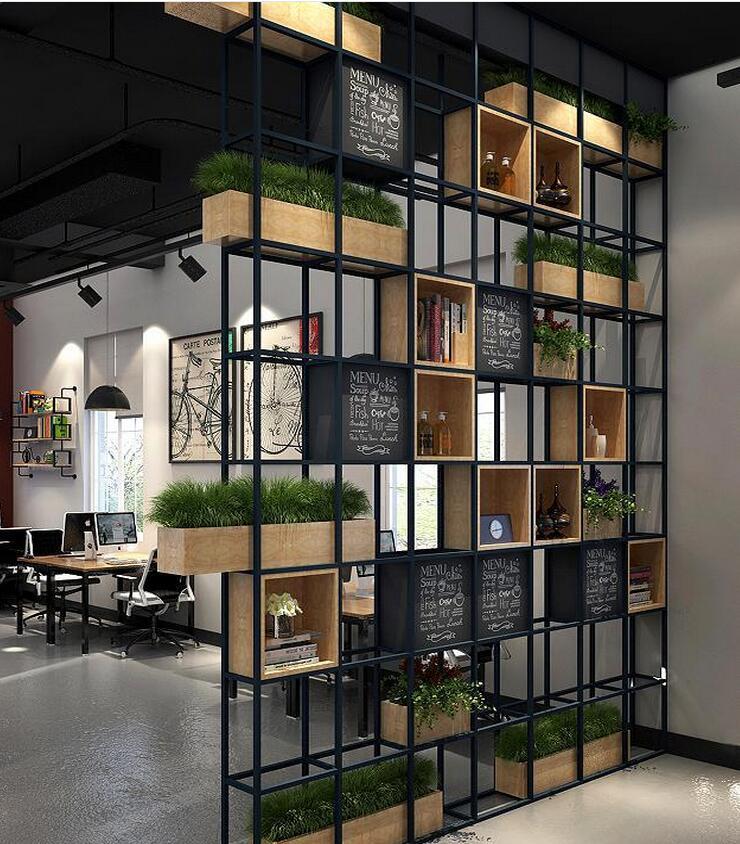 鐵藝實木工業風展示架置物架落地架客廳隔斷架,廠家直銷