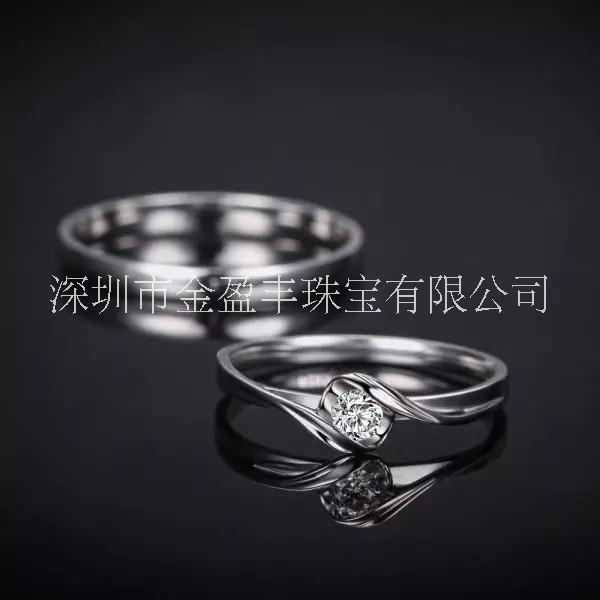 韩版18k金情侣对戒南非天然裸钻石简约求婚镶钻戒指厂家直销   18k金钻石情侣对戒