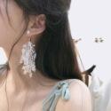 高档款韩国气质百搭蕾丝耳环图片