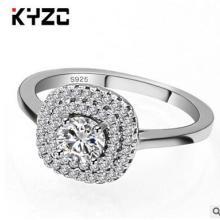 欧美外贸批发微镶锆石银戒指女电镀白金 奢华仿真钻戒 戒子