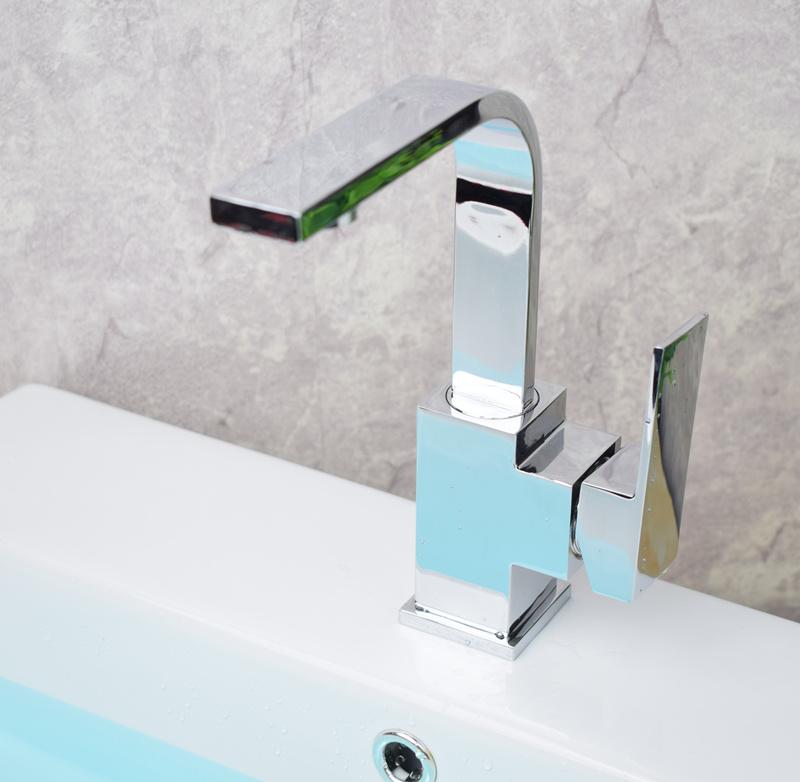 卫生间浴室洗手池方形单孔铜体旋转龙头台盆洗脸盆面盆冷热水龙头