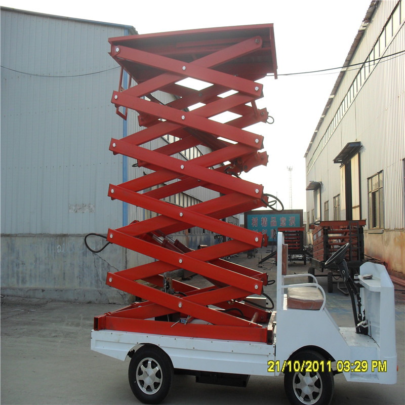 车载剪叉式升降平台,高空作业车,汽车液压升降机,液压升降货梯,汽车图片