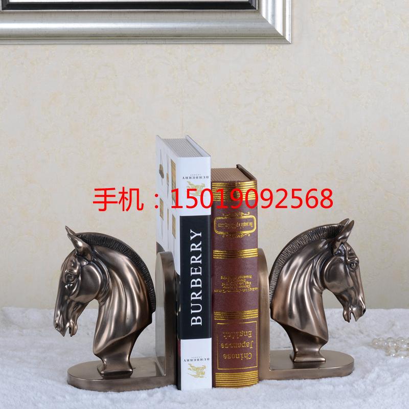 铜马头书档摆件 欧式冷铸铜马头饰品 儿童房书房摆件 深圳树脂工艺品