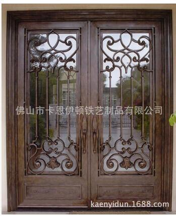 高端铁艺玻璃入户门欧式手工制定 高端铁艺玻璃入户门手工锻造欧式大