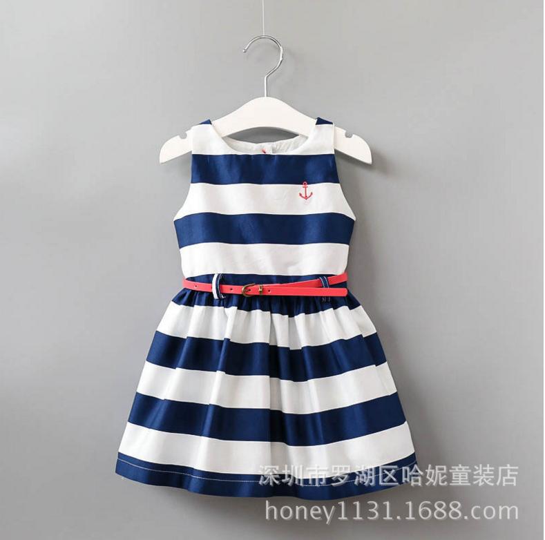 2017夏季新款外贸儿童条纹腰带纯棉中大童连衣裙 女童海军风背心裙