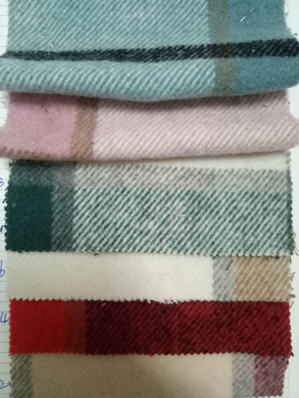 粗纺毛呢斜纹格子面料、深圳供应商、秋冬面料上架
