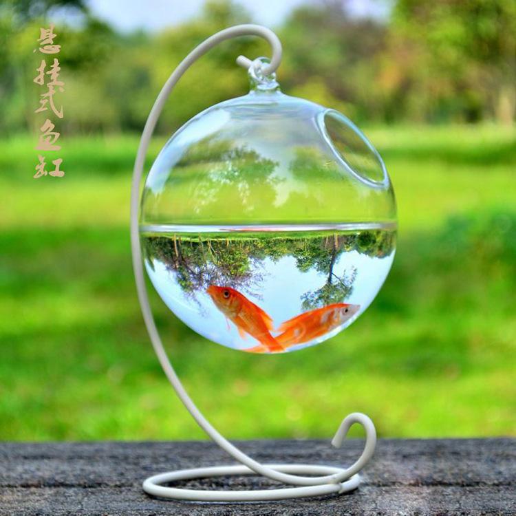 玻璃鱼缸创意悬挂式玻璃花瓶 悬挂式玻璃花瓶吊球  家居摆件玻璃鱼缸