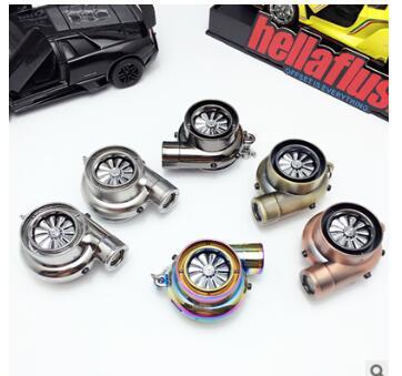 汽车改装LED涡轮打火机钥匙扣 创意USB充电点烟器钥匙圈挂件批