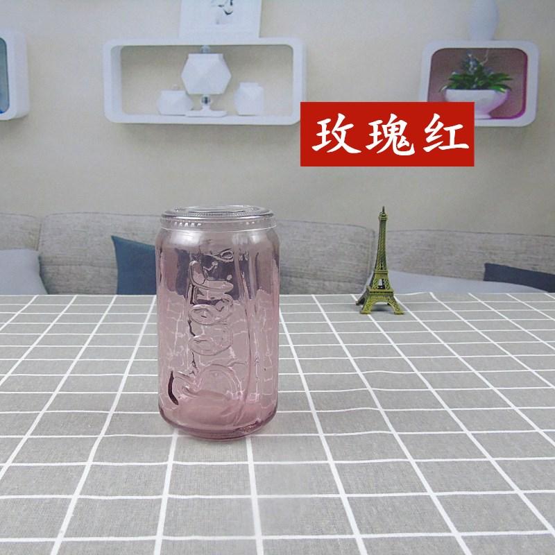 江苏徐州官宇玻璃制品 玻璃可乐瓶 批发零售玻璃可乐杯多彩水杯