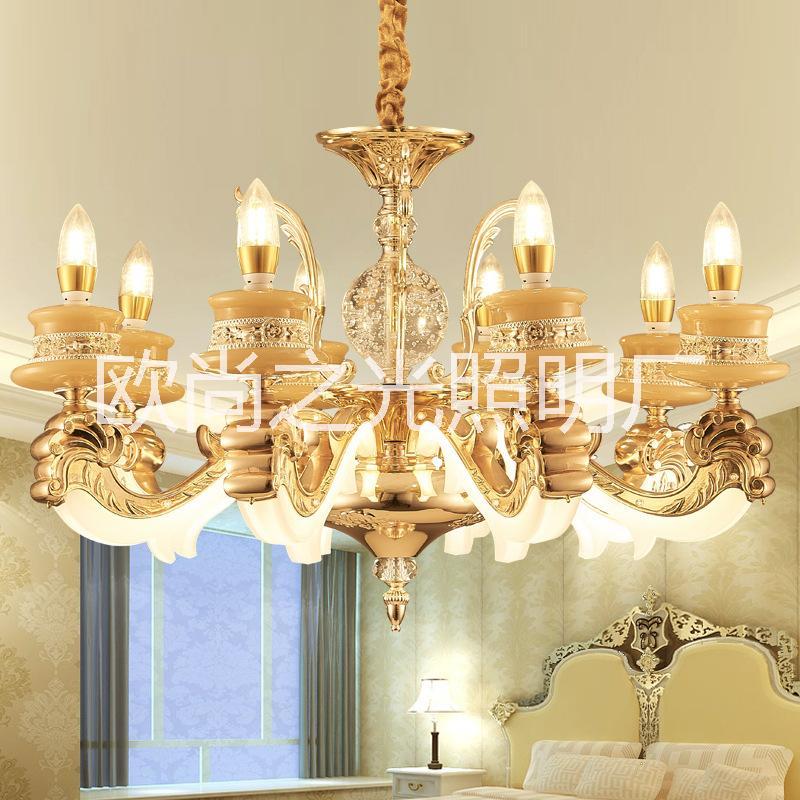 爆款欧式全铜吊灯 仿玉石客厅吊灯 锌合金蜡烛吊灯 卧室餐厅灯具批发