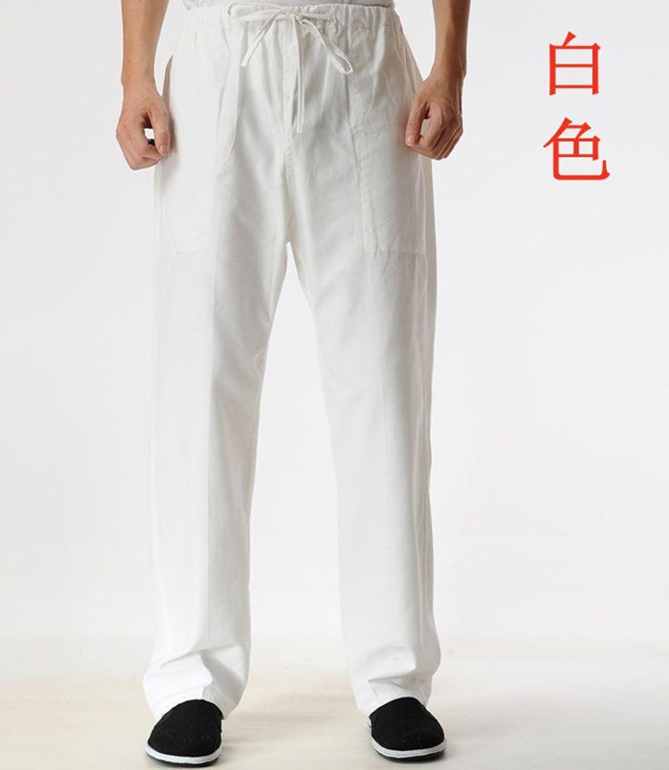 老粗男士中式休闲长裤子功夫太极晨练表演运动裤 老粗布纯棉唐装裤子