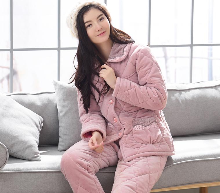 2017新冬款女长款冬季睡衣长袖法兰绒家居服