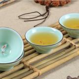 创意陶瓷梅子青瓷功夫茶具厂家  斗笠单鱼茶杯厂家  潮州茶具厂家