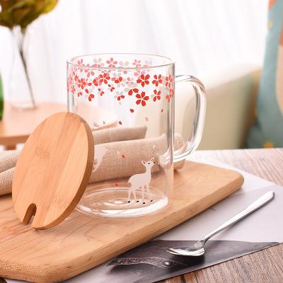 创意竹木盖玻璃杯 带盖带勺可爱卡通图案高硼硅玻璃水杯 透明花茶