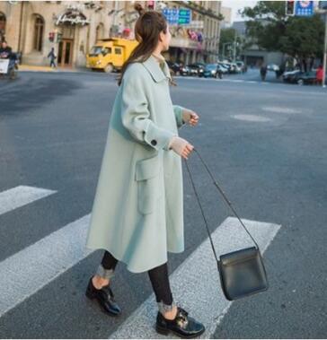2017秋装新款韩版中长款宽松纯色纯色长袖毛呢大衣