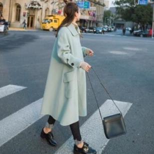 中长款宽松纯色纯色长袖毛呢大衣图片