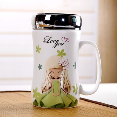 创意花花女孩马克杯密封水晶盖杯陶瓷杯带盖办公室咖啡杯可定制