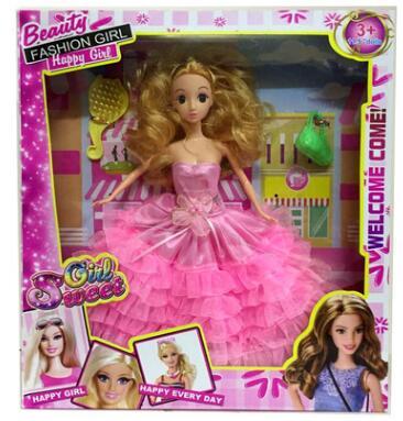 换装娃娃套装 3D真眼时尚粉红大裙公主礼盒女孩娃娃公主玩具批发