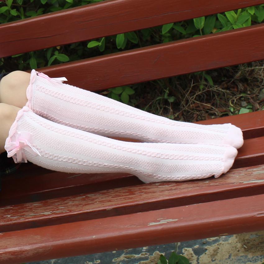 韩国新品全棉麻花网眼女童中高筒袜纯棉蝴蝶结过膝儿童长筒袜批发