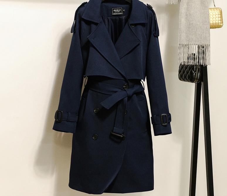 2017年新款定制藏青色双排扣风衣长款时尚风衣 双排扣风衣