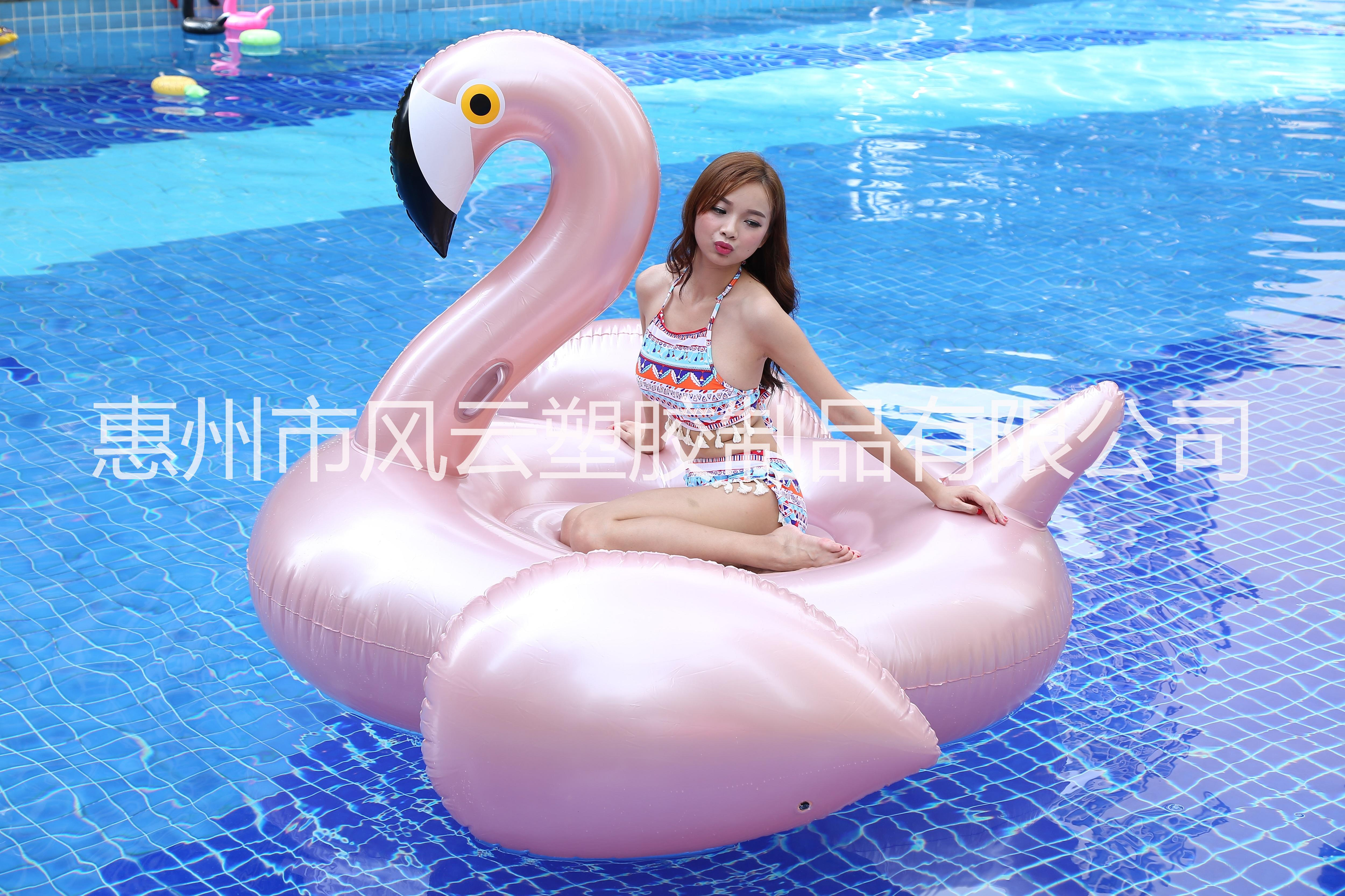 厂家直销pvc充气玫瑰金火烈鸟浮排水上成人冲浪天鹅坐骑充气独角兽游泳圈 充气玫瑰金火烈鸟坐骑水上冲浪玩具