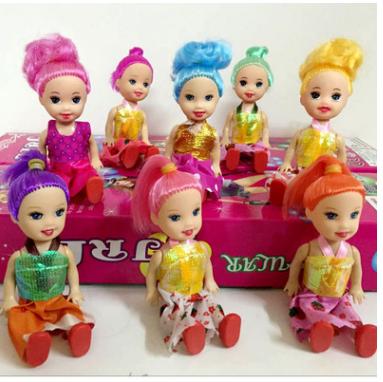 3.5寸娃娃小凯莉蛋糕烘焙玩具娃娃 芭芘巴比洋娃娃动漫搪胶公仔  3.5寸三只小凯莉娃娃