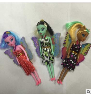 7寸带翅膀鬼娃娃 3款opp单个袋装魔鬼女孩过家家芭芘巴比玩具