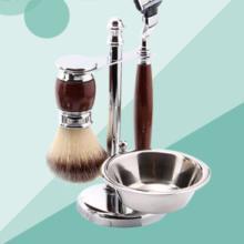 厂家供应 剃须刀四件套 獾毛皂刷碗支架 金属剃须刷套装