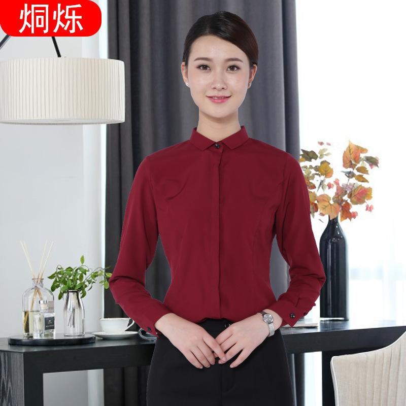 湖南烔烁韩版酒红色抗皱女士衬衣  职业女式衬衫