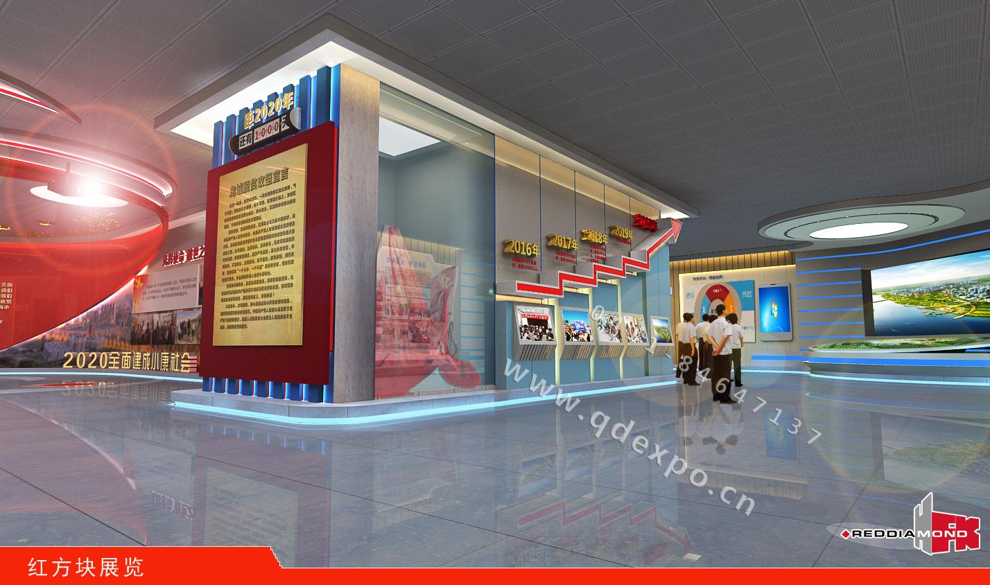红色展馆设计-红方块红色展馆设计图片