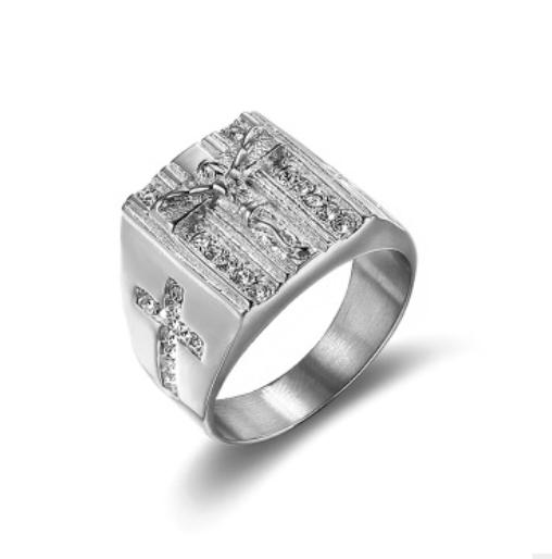 惠州十字架耶稣戒指报价 潮州十字架耶稣戒指厂家 梅州戒指厂家直供 揭阳18K金镶钻戒指批发
