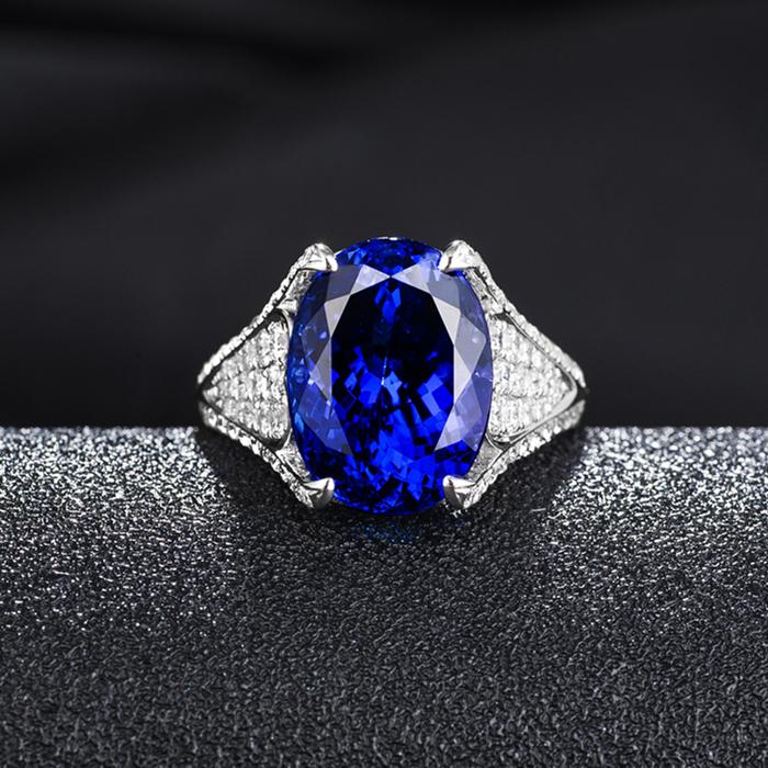 8.09椭圆形坦桑石戒指5A坦桑石的价格18K金钻石镶嵌个性款式颜色好坦桑尼亚蓝宝石