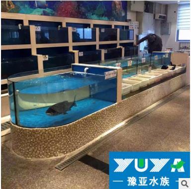 上海玻璃海鲜鱼缸供应商  水产市场海鲜养鱼池定做 水产市场海鲜养鱼池报价