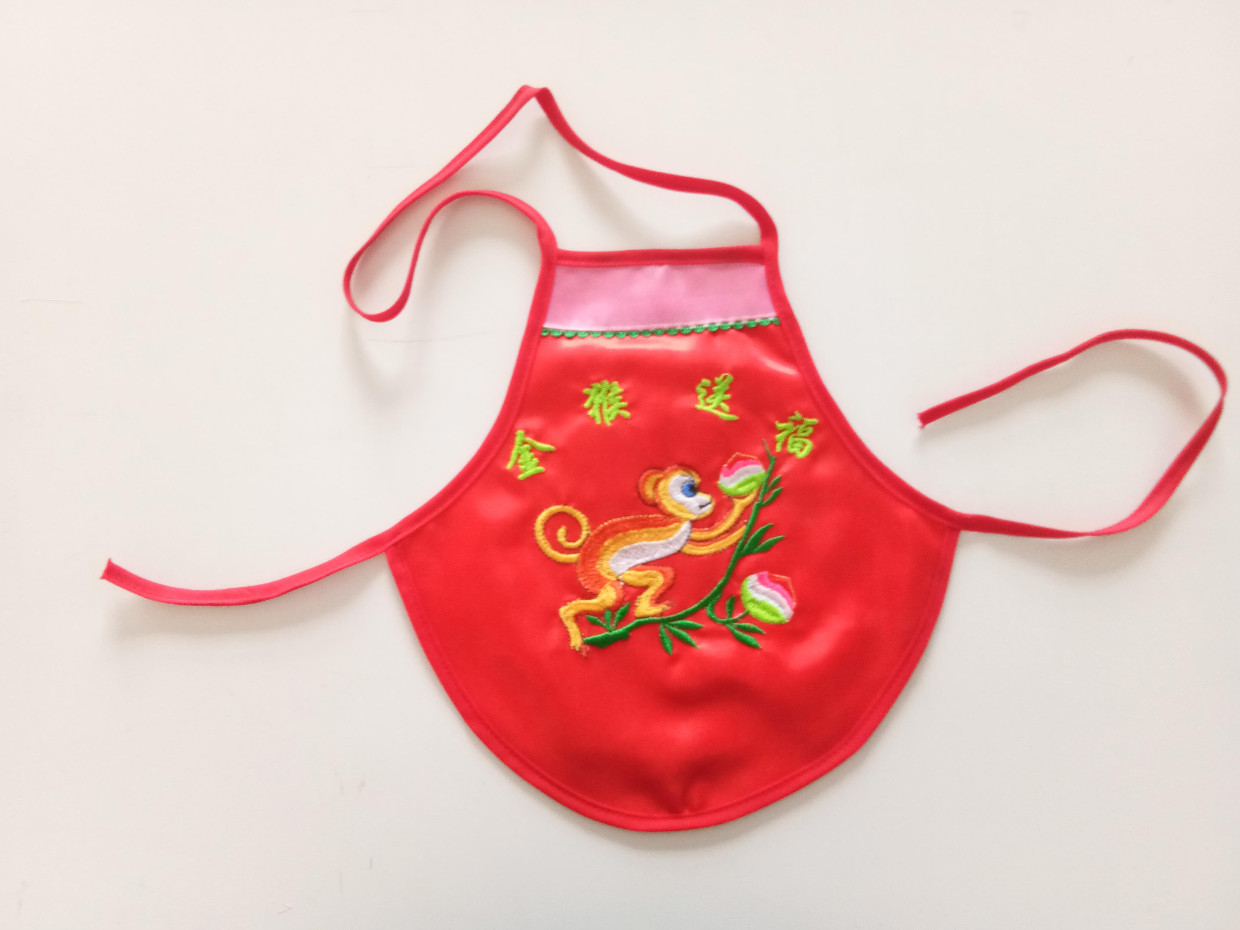 春夏款宝宝绣花猴子肚兜 宝宝肚兜 婴儿周岁满百红色肚兜绣花肚兜 婴儿丝绸护肚围