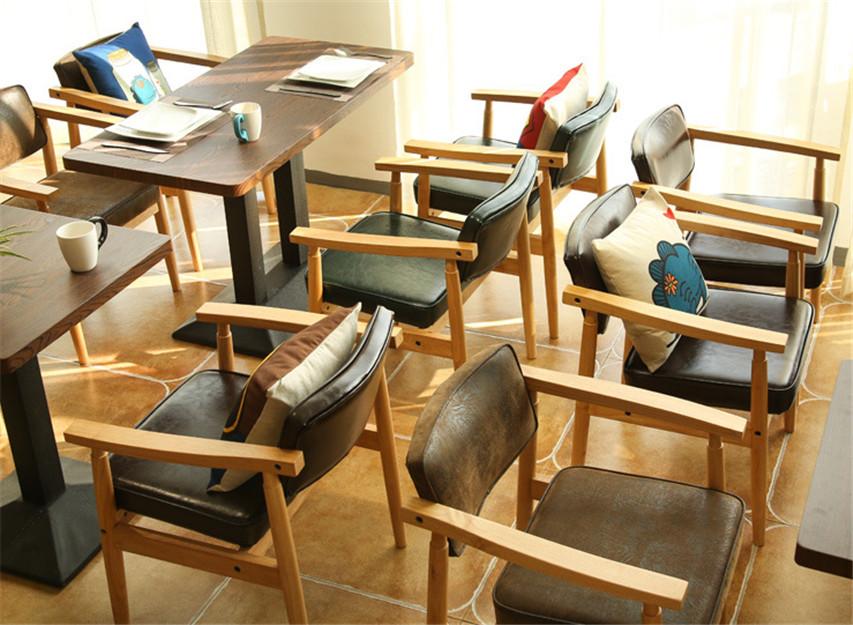 北欧简约实木餐椅西餐咖啡厅桌椅餐厅酒店沙发椅软包靠背椅子