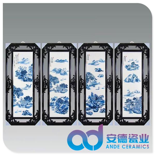 中式传统白瓷瓷板画厂家定制批发