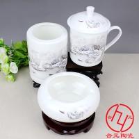 定制陶瓷办公三件套 陶瓷笔筒烟缸茶杯三件套会议礼品定制logo