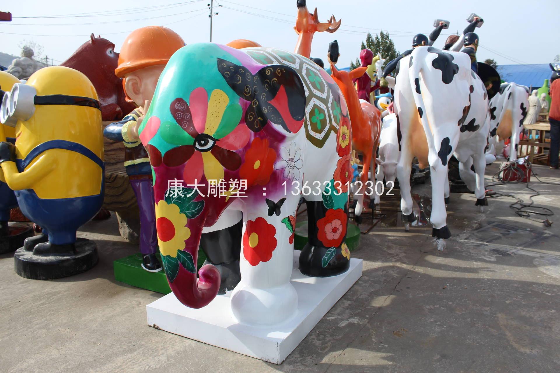 动物大象雕塑彩绘景观动物雕刻摆件