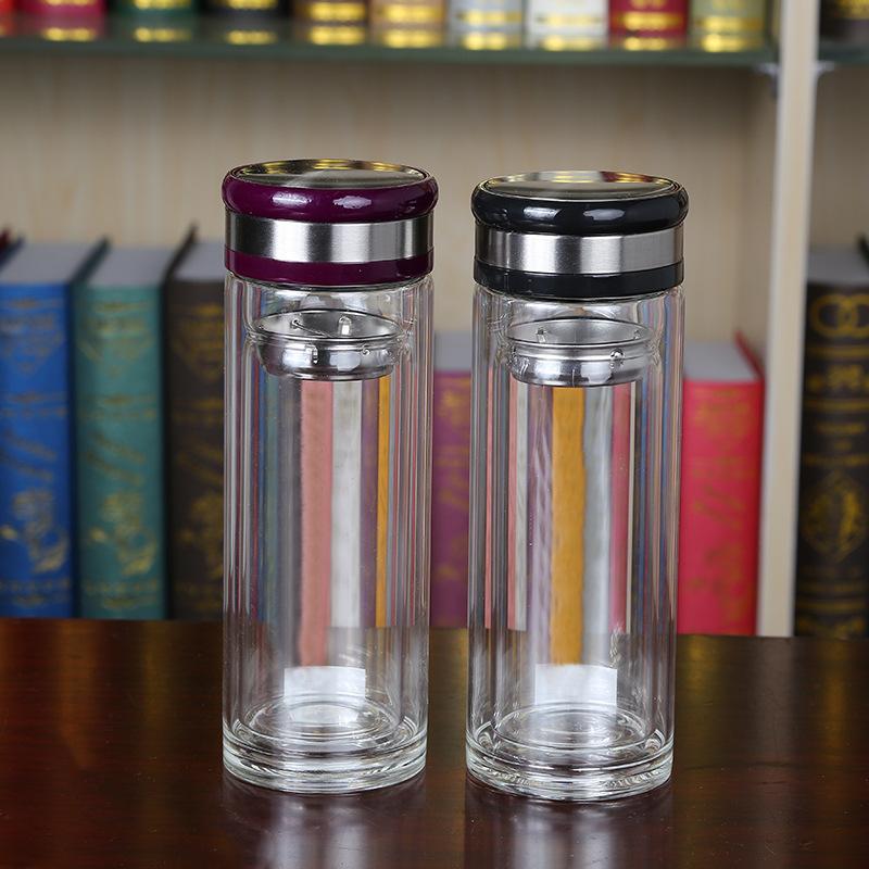 2018热卖双层玻璃杯带盖办公水杯 耐高温高硼硅玻璃杯厂家直销