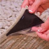 PU凝胶地毯贴垫 无痕可移黑色三角形地毯固定防滑贴 四片装家用地面脚垫地毯贴片